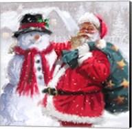 Santa With Snowman Fine-Art Print