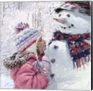 Girl With Snowman 2 Fine-Art Print