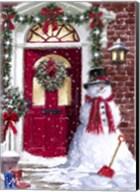 Red Door Snowman Fine-Art Print