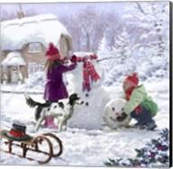 Building Snowman Fine-Art Print
