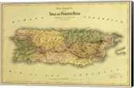 Island of Puerto Rico Map Fine-Art Print