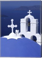 Dome and Crosses of Greek Church, Santorini, Greece Fine-Art Print