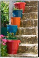 Staircase with Flower Planters, Fiskardo, Kefalonia, Ionian Islands, Greece Fine-Art Print
