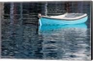 Greece, Cyclades, Mykonos, Hora Blue Fishing Boat with Reflection Fine-Art Print