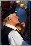 Older Gentleman Playing The Violin, Imerovigli, Santorini, Greece Fine-Art Print