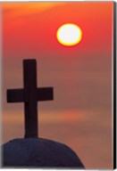 Christian cross, sunset, Mykonos, Greece Fine-Art Print
