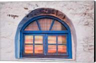 Window with sunset reflection, Mykonos, Greece Fine-Art Print