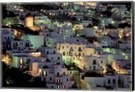 Hilltop Buildings at Night, Mykonos, Cyclades Islands, Greece Fine-Art Print
