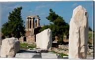 Greece, Corinth Doric Temple of Apollo Greece behind The Rostra Fine-Art Print