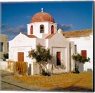 Greece, Mykonos, Church, Fishing Nets Fine-Art Print