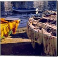 Greece, Mykonos Fishing Nets on Boats Fine-Art Print
