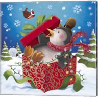Penguin Holiday Surprise Gift Fine-Art Print