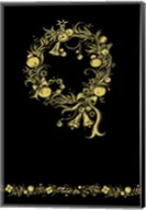 Black and Gold Holiday Wreath Fine-Art Print