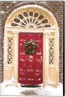 Red Door and Christmas Wreath Fine-Art Print