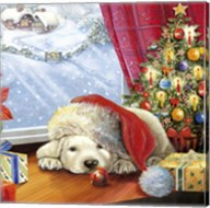 Puppy Snug and Christmas Tree Fine-Art Print