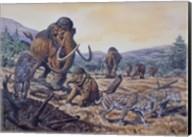 A Herd of Woolly Mammoth and Scimitar Sabertooth, Pleistocene Epoch Fine-Art Print