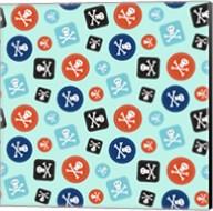 Pirate Badge Pattern Blue Fine-Art Print