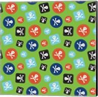 Pirate Badge Pattern Green Fine-Art Print