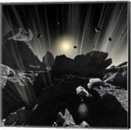 Astronauts explore the tumultuous surface of a Comet Fine-Art Print