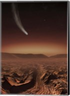 Comet lights up the landscape of Candor Chasma over Mars Fine-Art Print
