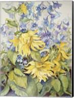 Sunflowers & Blue Delphinium Fine-Art Print
