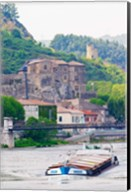 Chateau de Tournon, River Rhone and Pedestrian Bridge M Seguin, Tournon-sur-Rhone, Ardeche, France Fine-Art Print