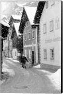 Snowy Street in Hallstat, Austria Fine-Art Print