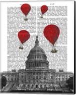 US Capitol Building and Red Hot Air Balloons Fine-Art Print