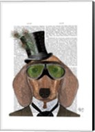 Dachshund Green Goggles Top Hat Fine-Art Print