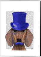 Dachshund With Blue Top Hat and Blue Moustache Fine-Art Print