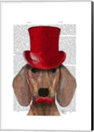 Dachshund With Red Top Hat and Moustache Fine-Art Print