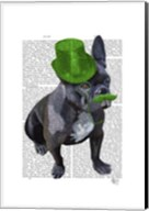 French Bulldog With Green Top Hat and Moustache Fine-Art Print