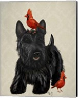 Scottie Dog and Red Birds Fine-Art Print