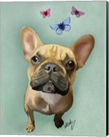 Brown French Bulldog and Butterflies Fine-Art Print