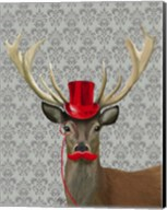 Deer With Red Hat and Moustache Fine-Art Print