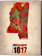 Mississippi Watercolor Map Fine-Art Print