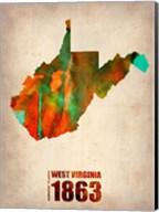 West Virginia Watercolor Map Fine-Art Print