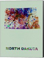 North Dakota Color Splatter Map Fine-Art Print