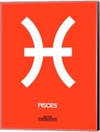 Pisces Zodiac Sign White on Orange Fine-Art Print