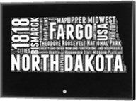 North Dakota Black and White Map Fine-Art Print