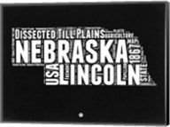 Nebraska Black and White Map Fine-Art Print