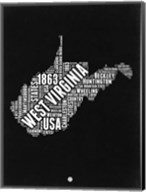 West Virginia Black and White Map Fine-Art Print