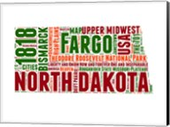 North Dakota Word Cloud Map Fine-Art Print