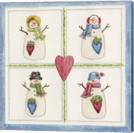 Four Snowmen With Heart Pockets Fine-Art Print