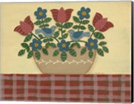 Red & Blue Flowers With Red Tablecloth Fine-Art Print