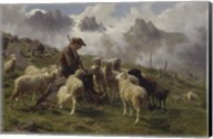 Shepherd Boy in the Pyrenees Offering Salt to his Sheep, 1864 Fine-Art Print