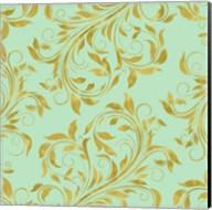 Golden Mint Damask I Fine-Art Print
