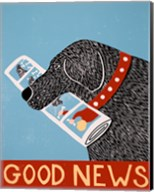 Good News Dog Black Fine-Art Print