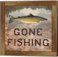 Gone Fishing Salmon Sign Fine-Art Print