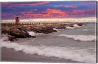 Lighthouse at Sunset, Michigan 09 Fine-Art Print